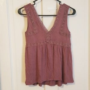 Mudd wide strap tank with lace